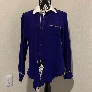 Trina Turk blue button down tie blouse